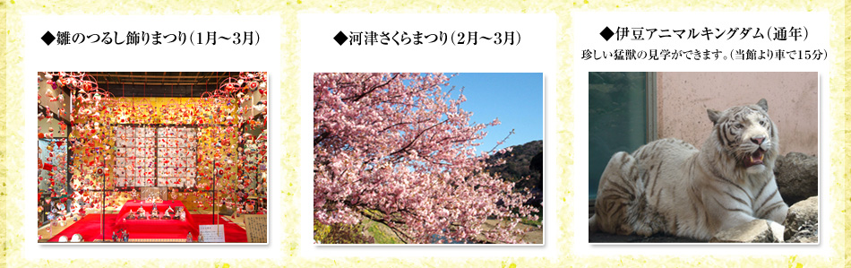 春は有名な河津の桜や吊るし雛が楽しめます